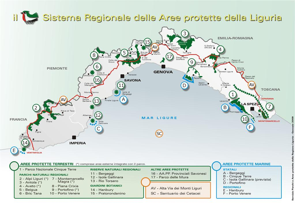 Le Aree Protette della Liguria